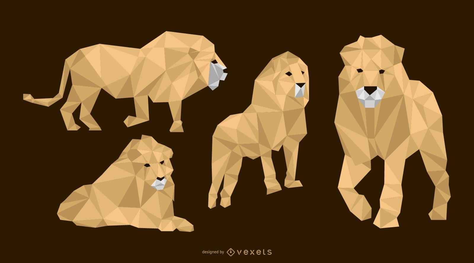 Low Polygonal Lion