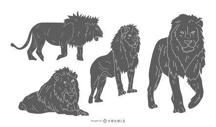 Conjunto de silhueta de leão