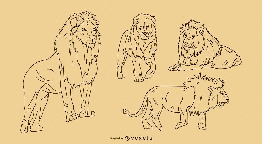 Conjunto de contornos de leão