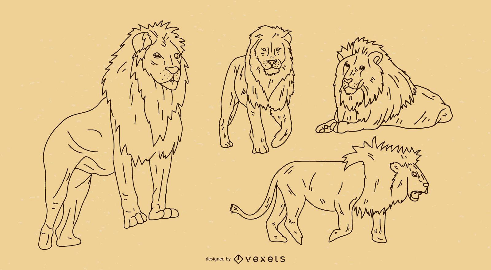 Lion Outline Set