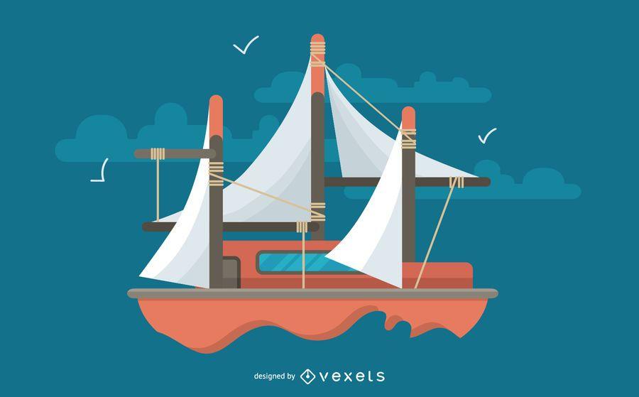 Minimalist Boat Cartoon Design