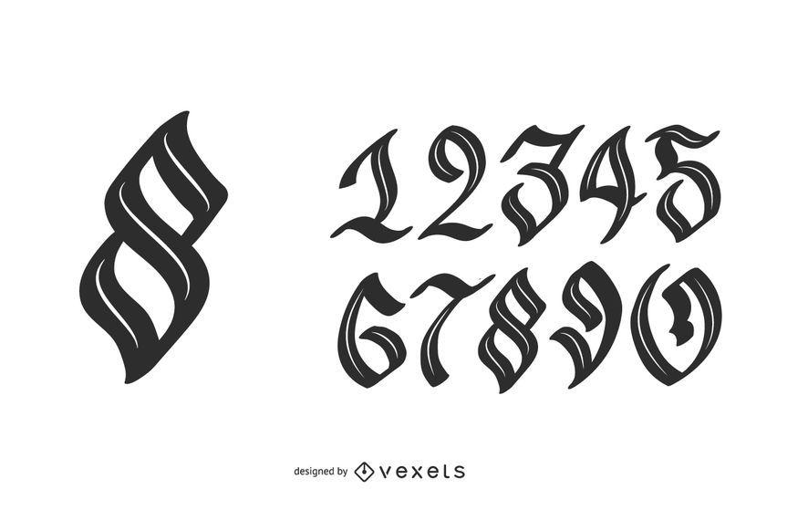 Neo-gotische Zahlen