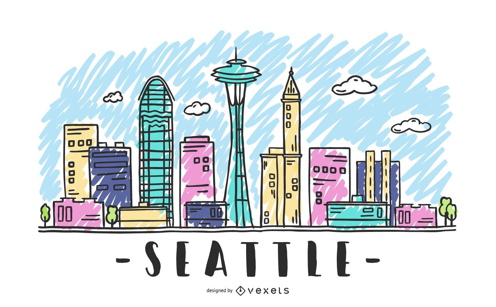 Bosquejo del horizonte de Seattle