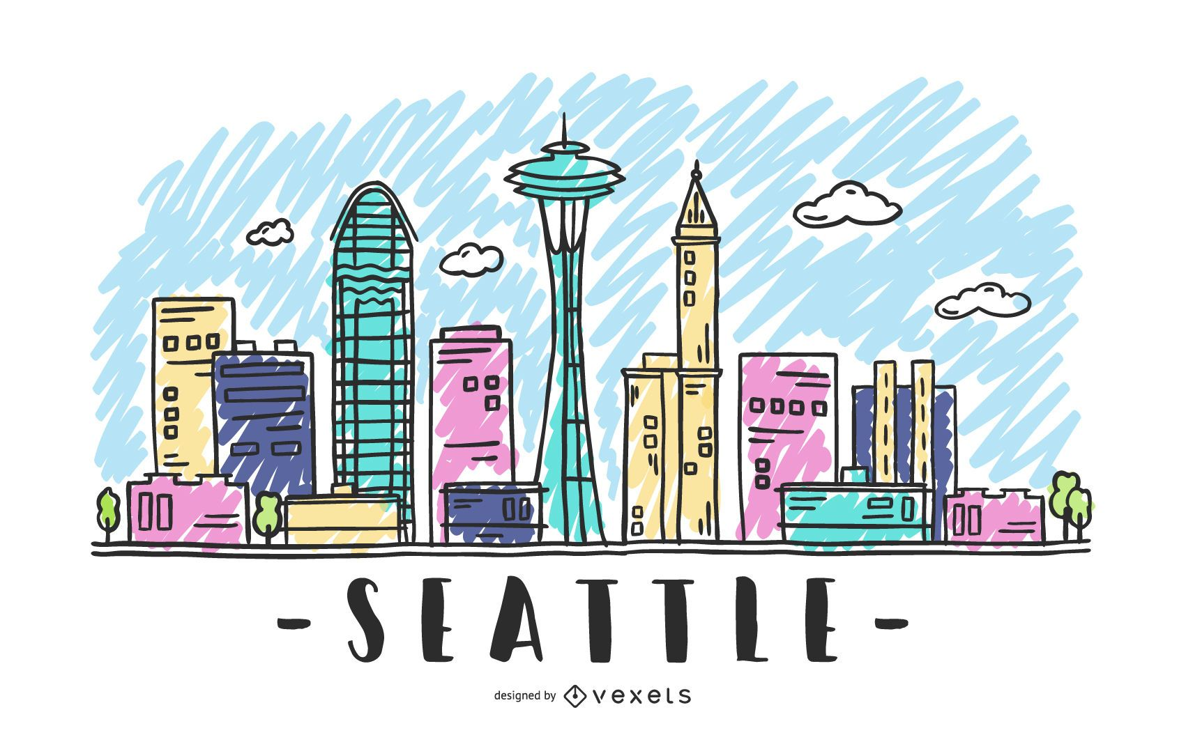 Sketch of Seattle's skyline