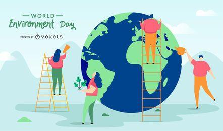 Ilustração do dia mundial do meio ambiente