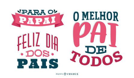Diseño de letras portuguesas del día del padre