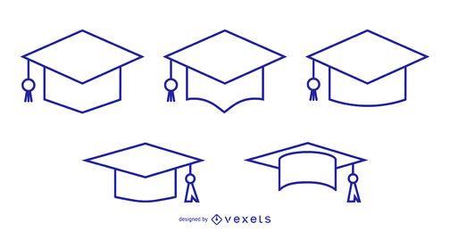 Icono de carrera de borla y gorra de graduación