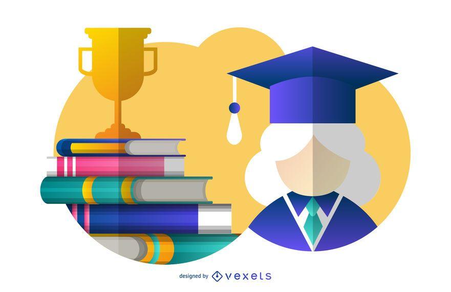 Ilustração de pós-graduação feminina