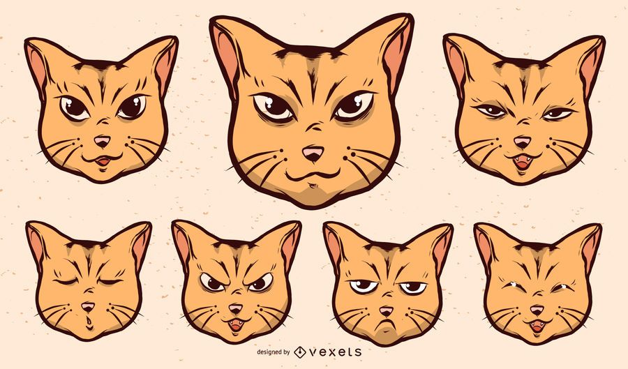 Cat Facial Expressions Set
