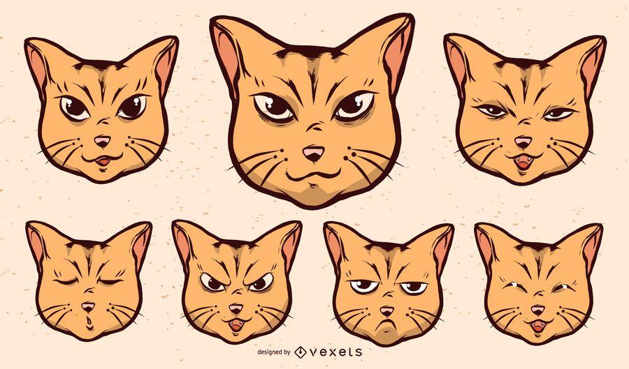 Conjunto de expresiones faciales de gato