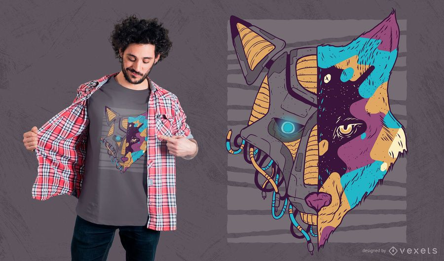 Design de t-shirt de lobo de cara dupla