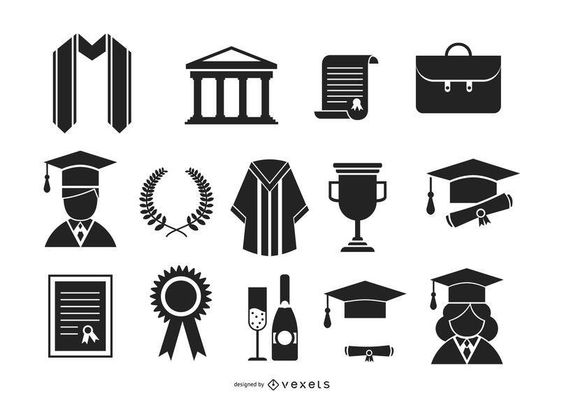 Conjunto de iconos de graduación