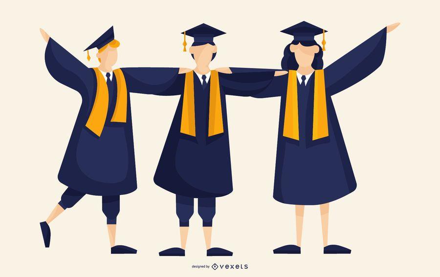 Ilustração de graduados