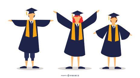 School Graduates Vector Set