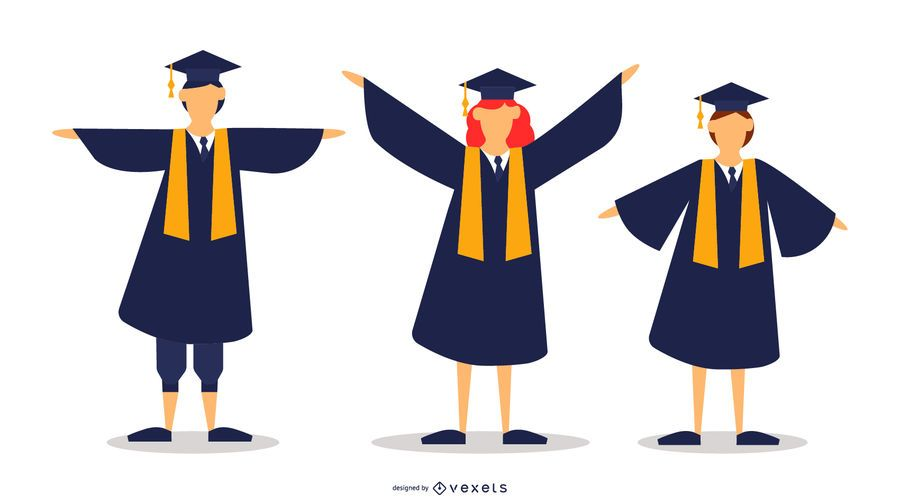 School Graduates Vector Set