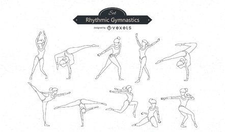 Conjunto de vectores de línea de gimnasia