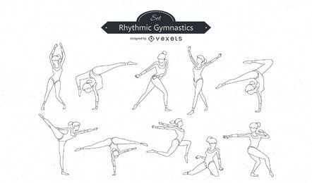 Gymnastics Line Vector Set
