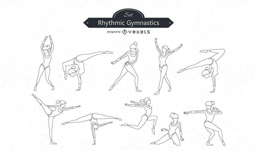 Gymnastics Line Vector Set