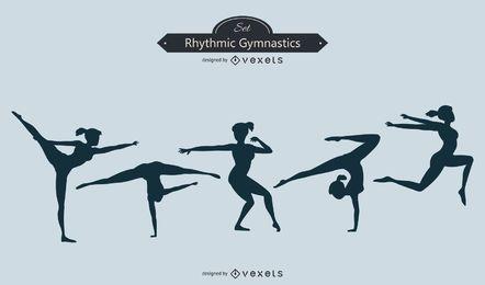 Diseño de silueta de gimnasia rítmica