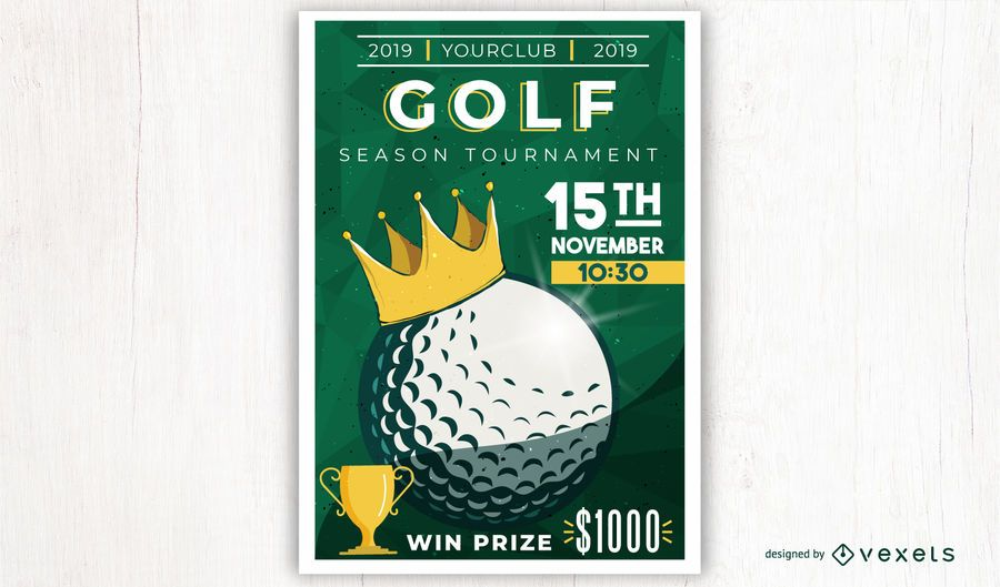 Design de pôster de torneio de golfe