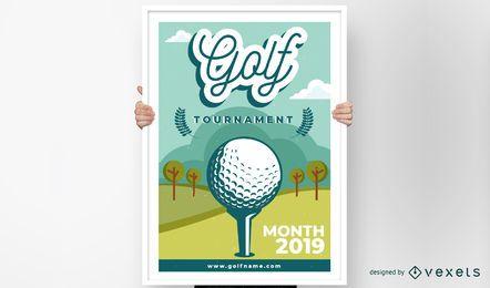 Design de cartaz de torneio de clube de golfe