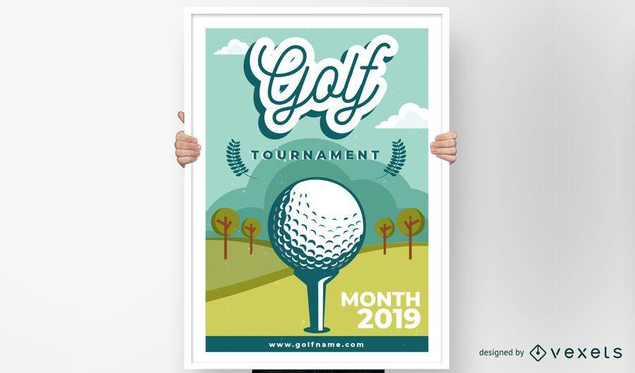 Torneo de Golf Club Diseño de Póster