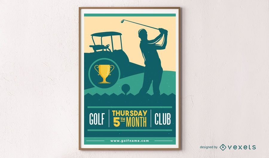 Design de cartaz de silhueta de golfe
