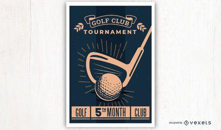 Diseño del cartel del golf del estilo del vintage
