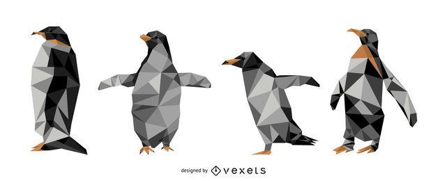 Conjunto de vectores poligonales de pingüino