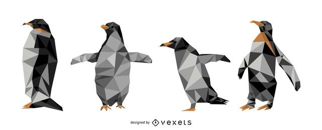 Pingüino poligonal vector conjunto