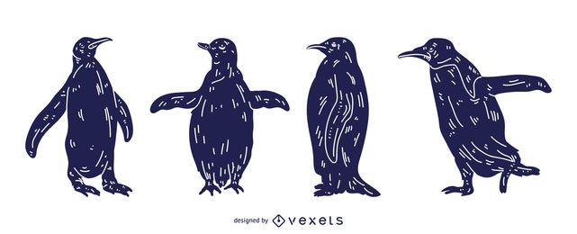 Pinguin detaillierte Silhouette Design