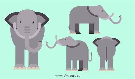 Diseño geométrico redondeado plano elefante