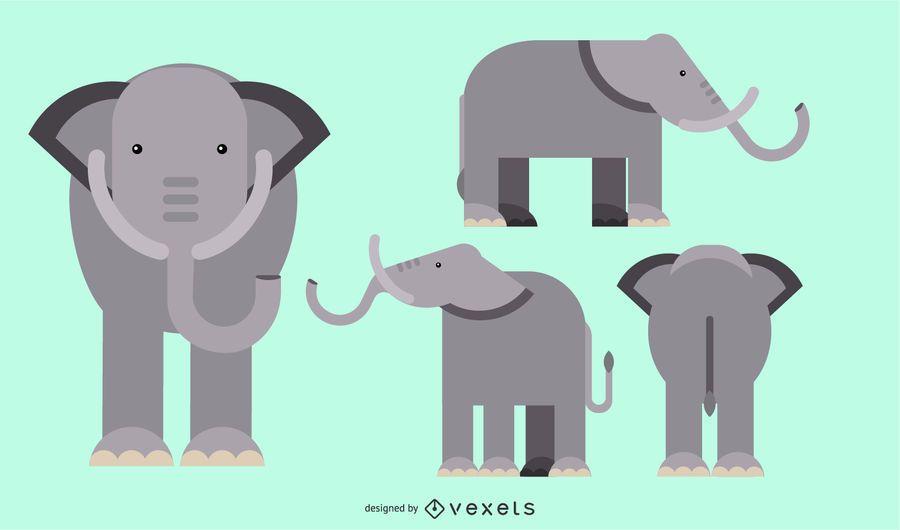 Elefante plano redondeado diseño geométrico