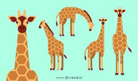 Diseño geométrico redondeado plano jirafa