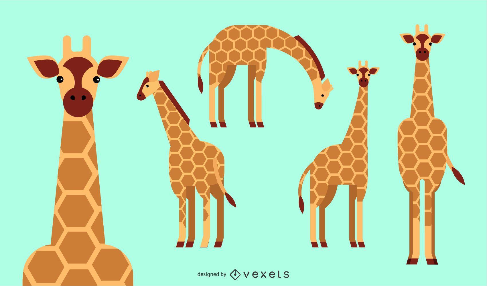 Desenho geométrico plano arredondado de girafa