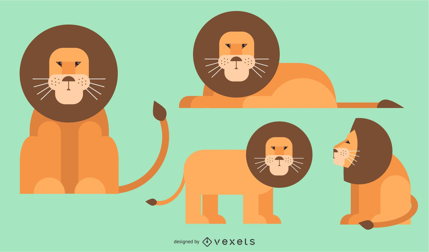 Lion Flat Rounded Geometric Vector Design