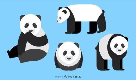 Panda redondeado diseño vectorial geométrico