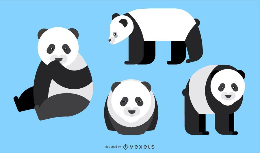 Panda Rounded Geometric Vector Design
