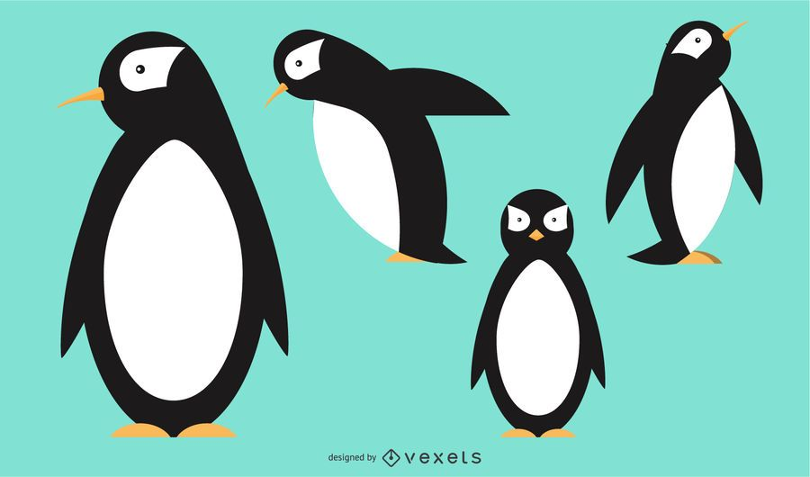 Penguin Rounded Geometric Vector Design