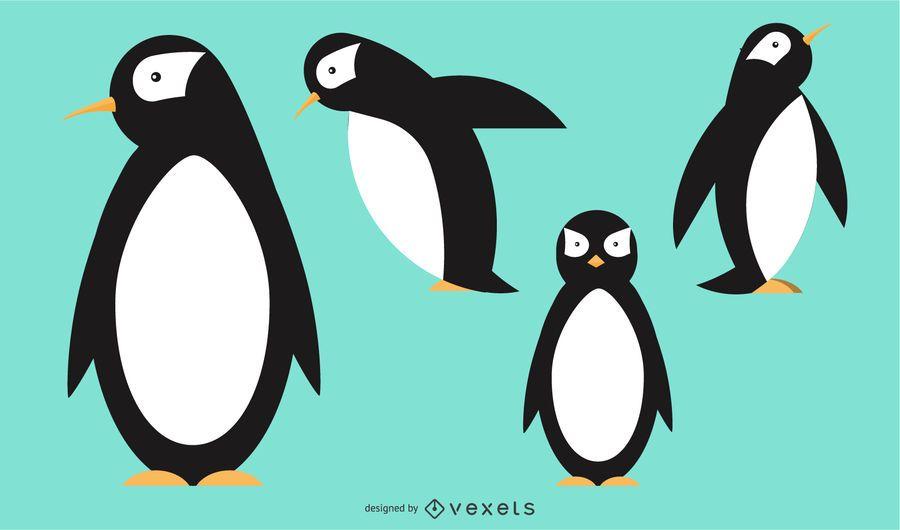 Pingüino redondeado diseño vectorial geométrico