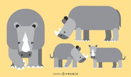 Diseño de vector geométrico redondeado plano de rinoceronte