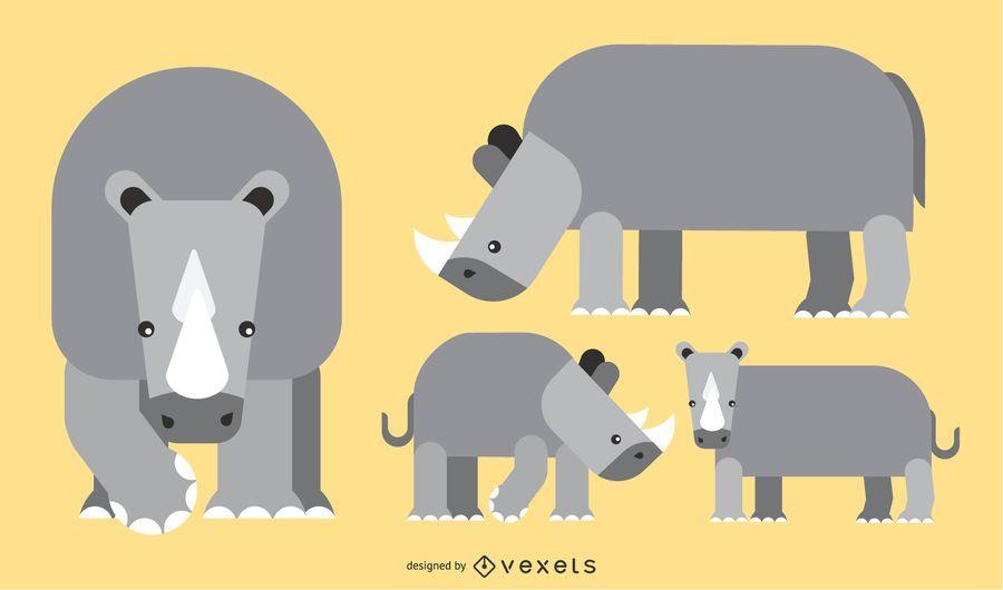 Rhino plana redondeada diseño geométrico del vector