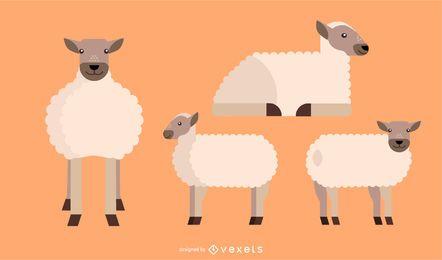 Desenho vetorial geométrico plano arredondado de ovelha