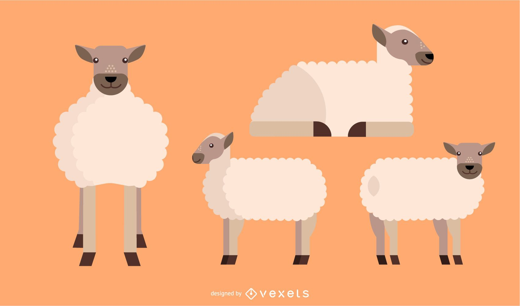 Sheep Flat Rounded Geometric Vector Design