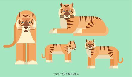 Tigre redondeado geométrico diseño vectorial