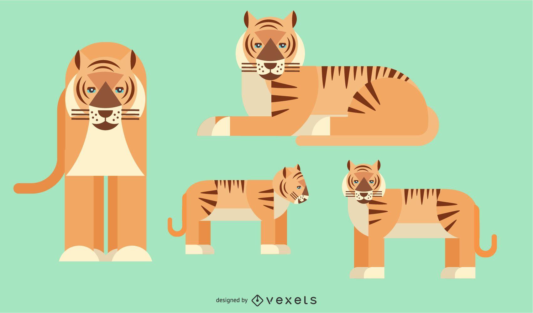 Diseño de vectores geométricos redondeados de tigre