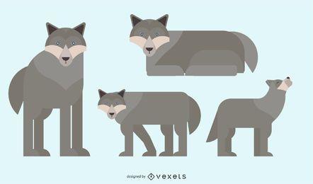 Wolf abgerundete geometrische Vektor-Design