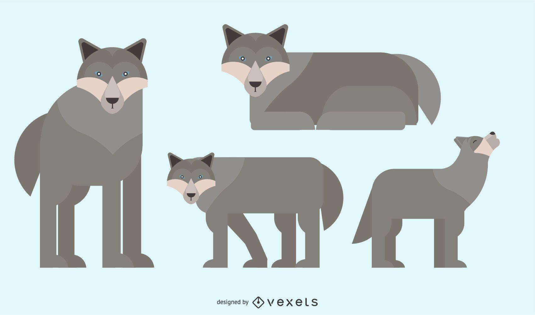 Diseño de vector geométrico redondeado de lobo
