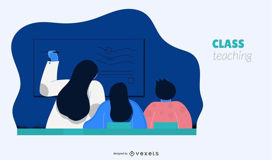 Clase, enseñanza, silueta, ilustración