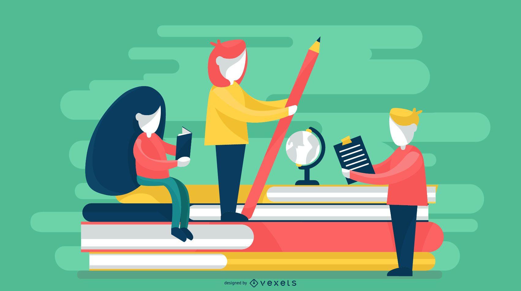 Teacher Silhouette Illustration Design